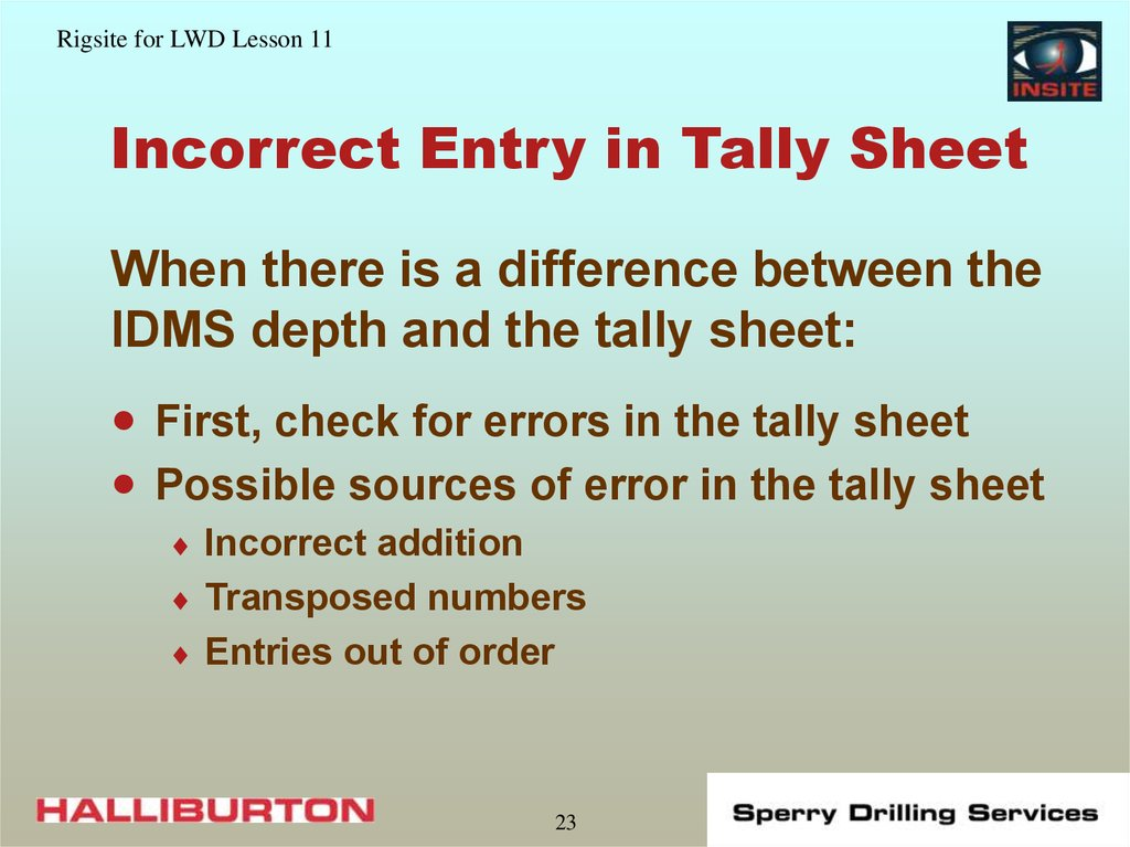 Incorrect Entry in Tally Sheet
