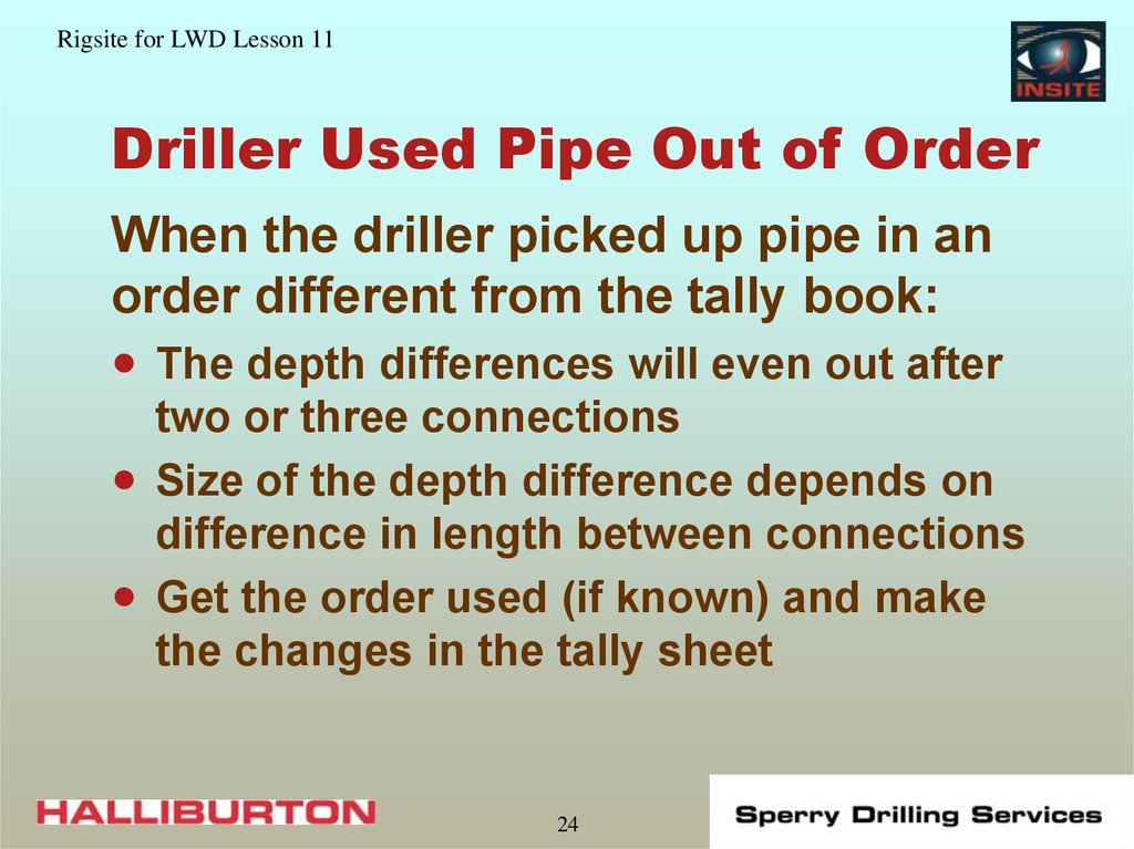 Driller Used Pipe Out of Order