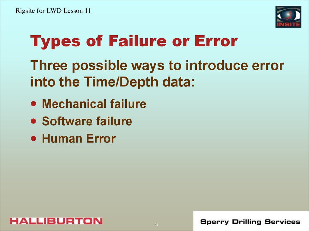 Types of Failure or Error