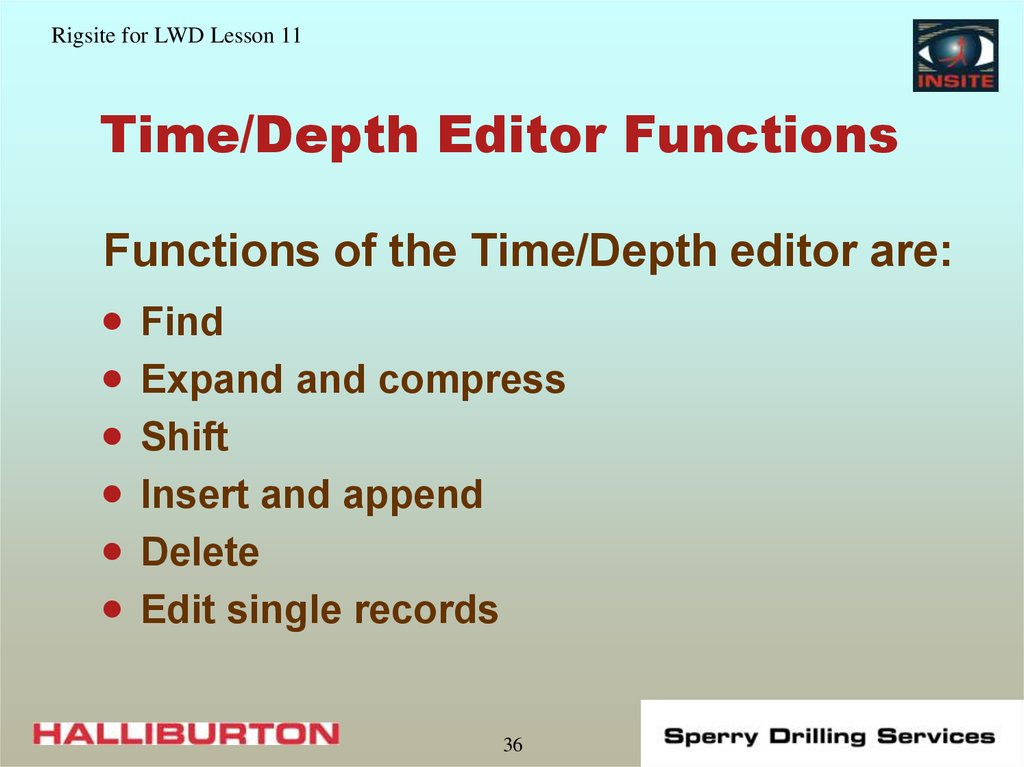 Time/Depth Editor Functions
