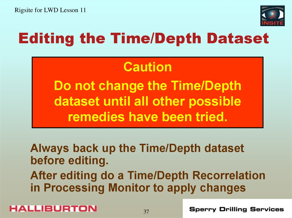 Editing the Time/Depth Dataset
