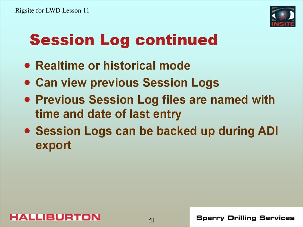 Session Log continued