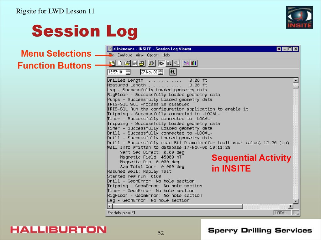 Session Log