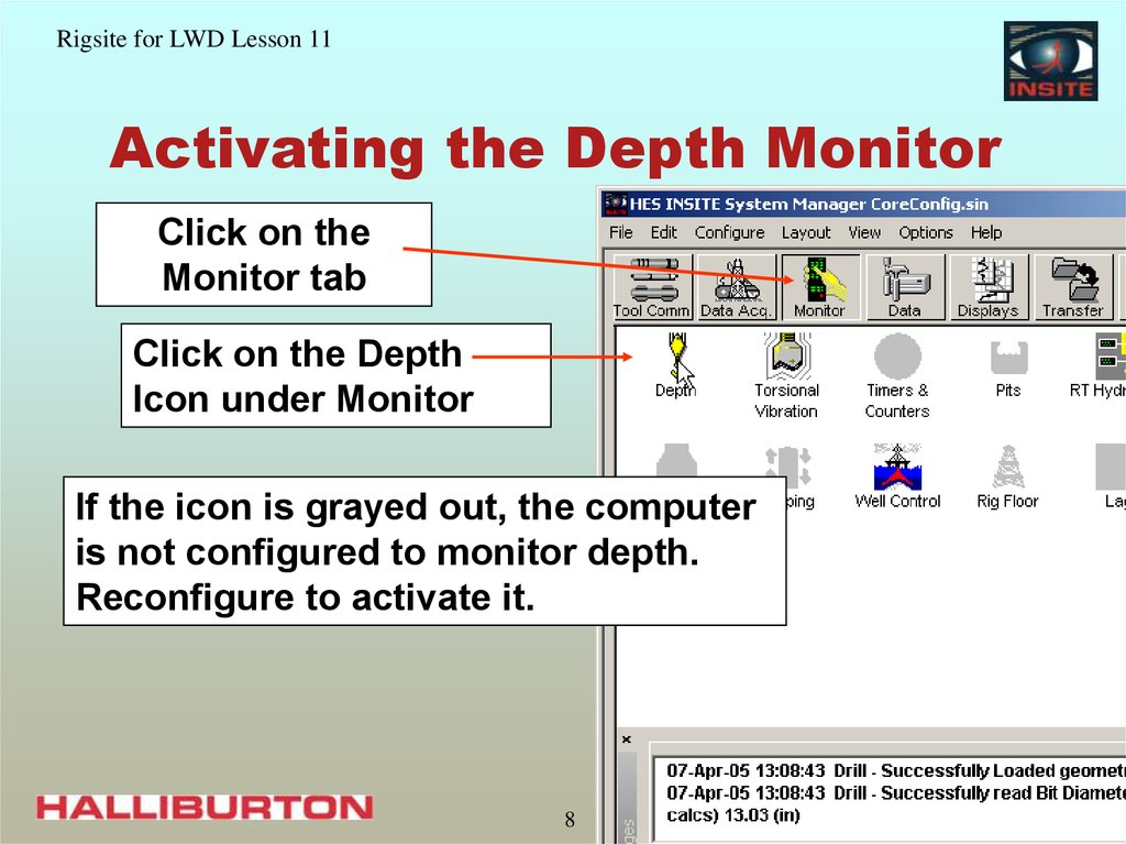 Activating the Depth Monitor