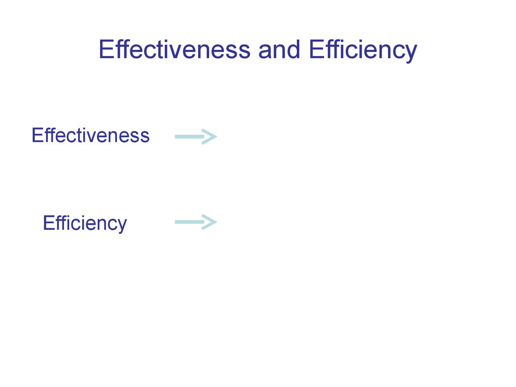 effectiveness and efficiency Efficiency is an internal measure of performance for companies that shows how well the company converts inputs into outputs productivity is the combination of efficiency and effectiveness.