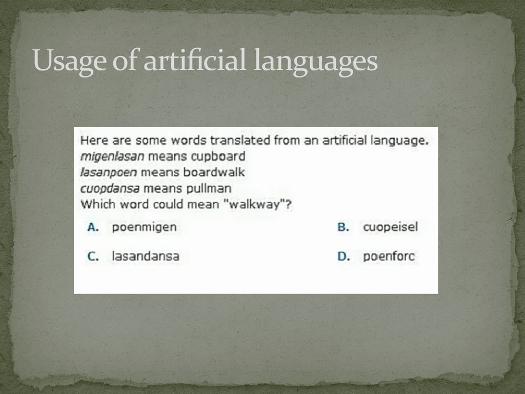 Usage of artificial languages