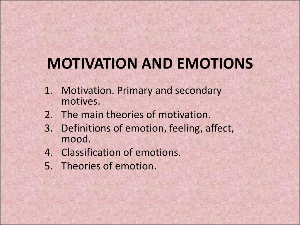 Motivation and emotions - online presentation