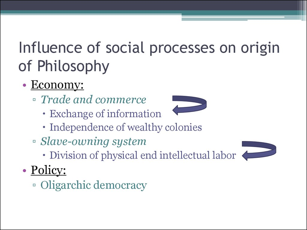 Influence of social processes on origin of Philosophy