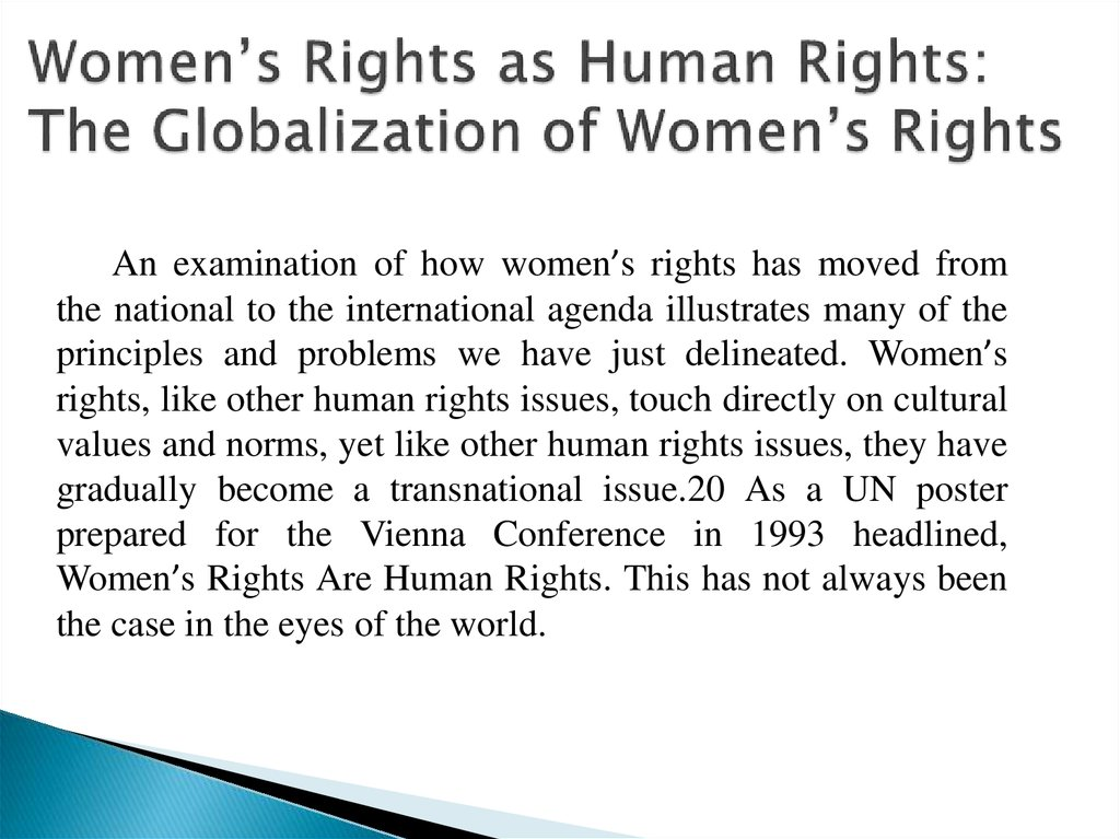 Women's Rights as Human Rights: The Globalization of Women's Rights