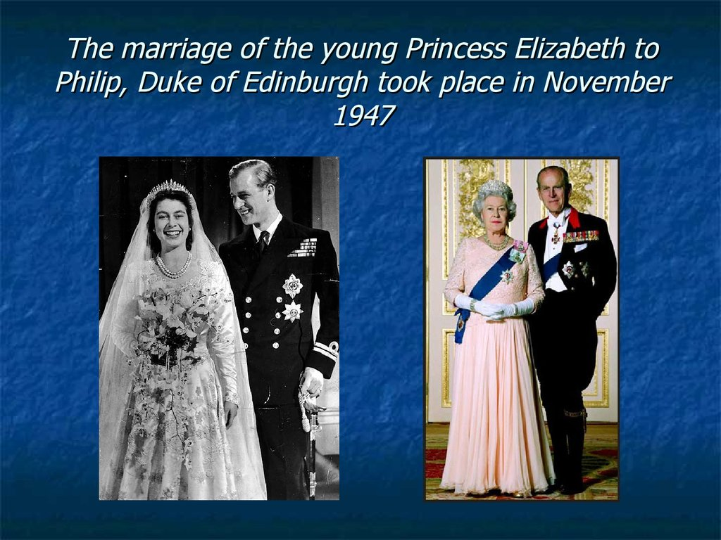 The marriage of the young Princess Elizabeth to Philip, Duke of Edinburgh took place in November 1947