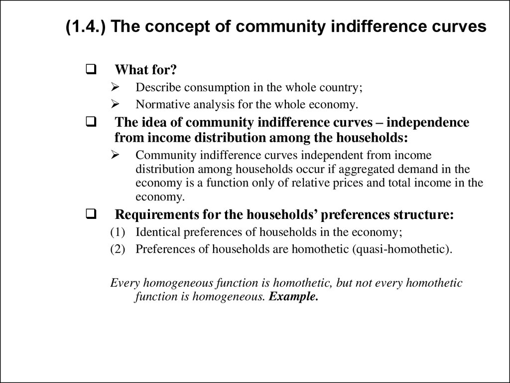 (1.4.) The concept of community indifference curves