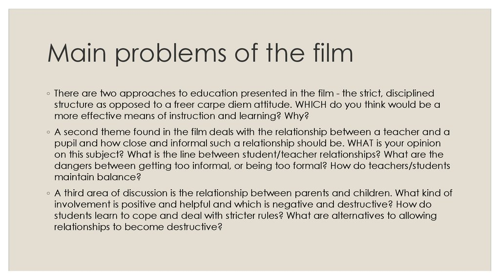 Main problems of the film