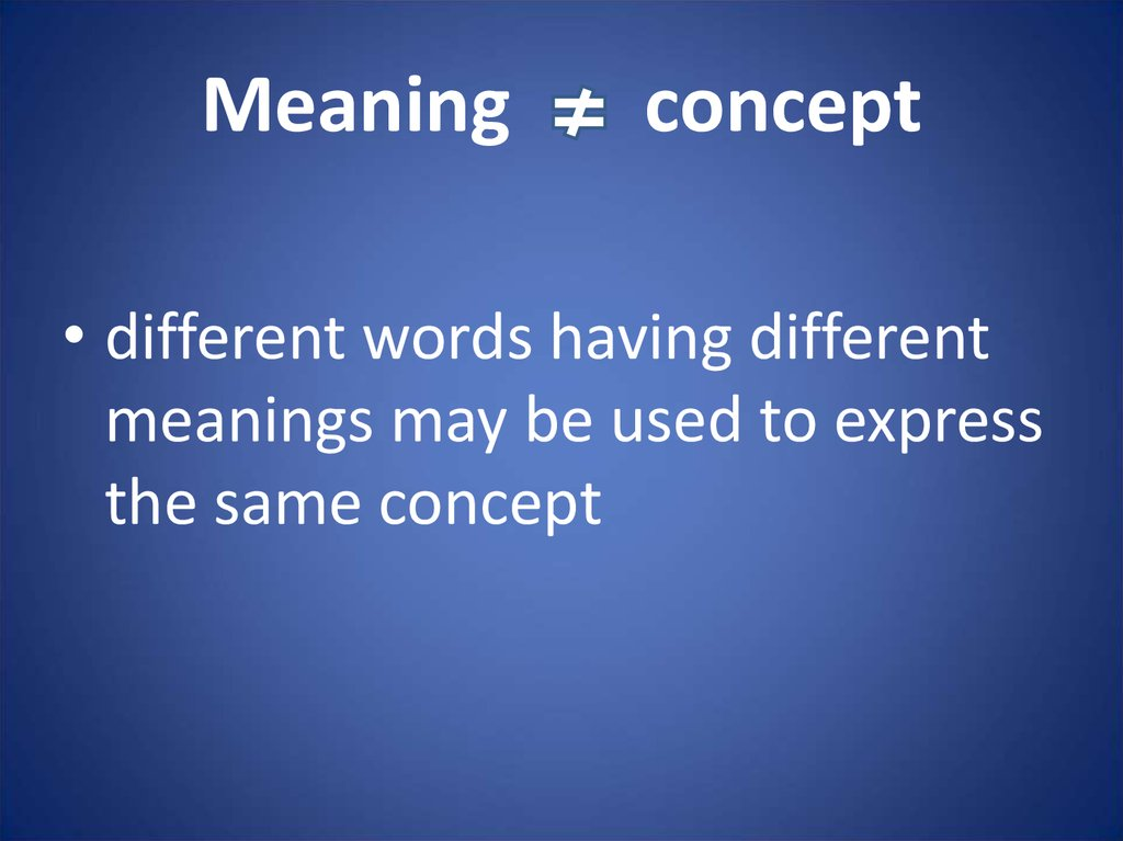 Meaning concept