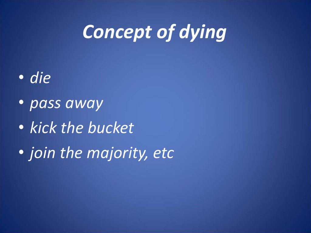 Concept of dying