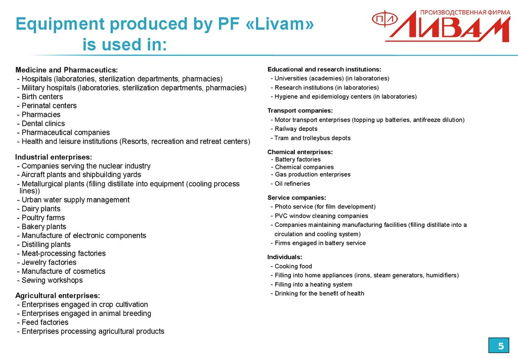 Equipment produced by PF «Livam» is used in: