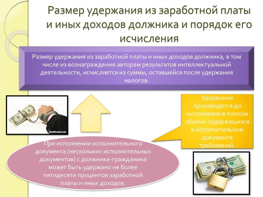 учет удержание из заработной платы,шпаргалка
