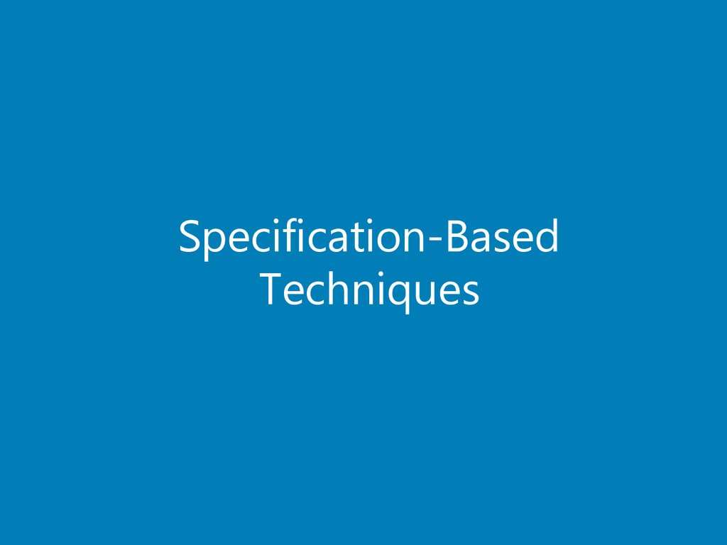 Specification-Based Techniques