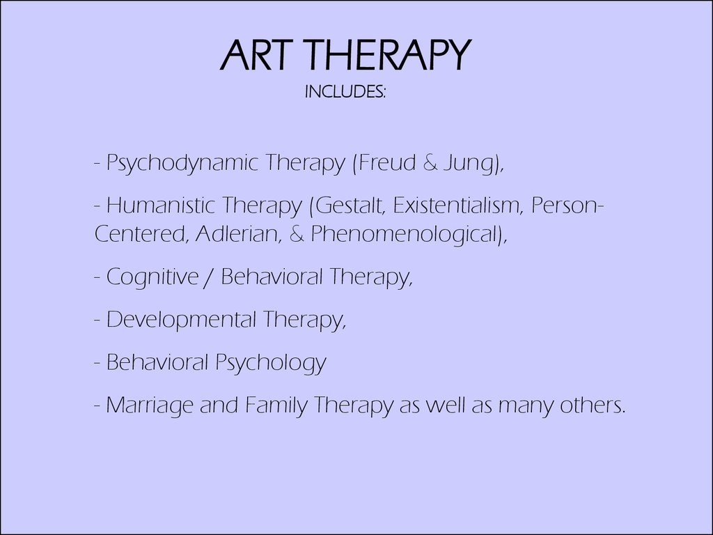 ART THERAPY INCLUDES: