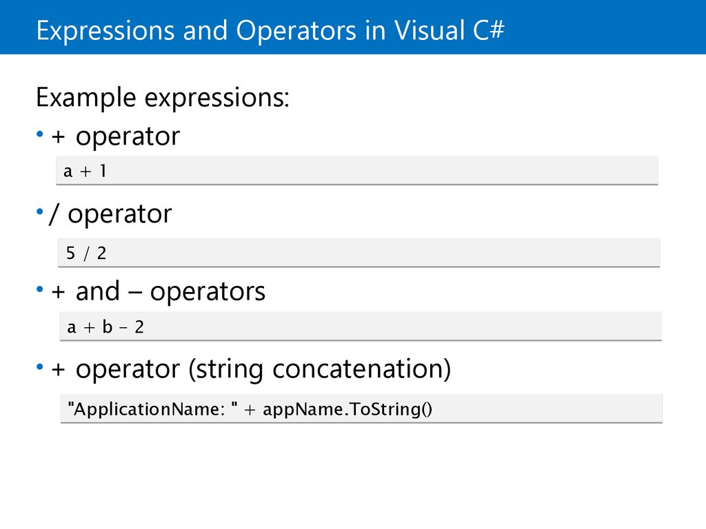 Expressions and Operators in Visual C#