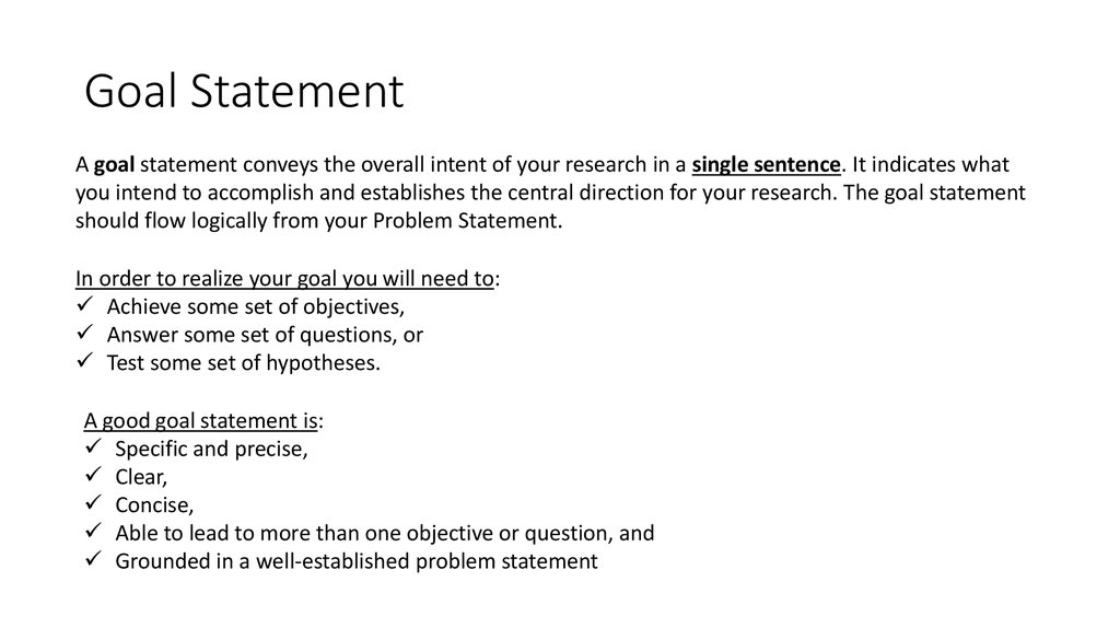 Goal And Objectives Of Your Research  Online Presentation