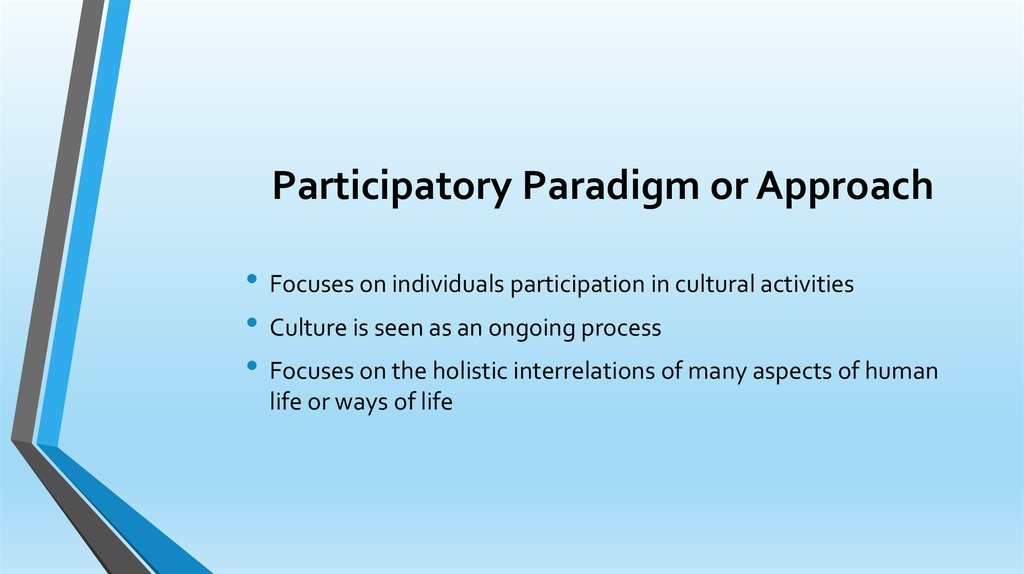 a term paper participatory approach on Using participatory approaches in impact evaluation means involving stakeholders, particularly the participants in a programme or those affected by a given policy, in specific aspects of the evaluation process.