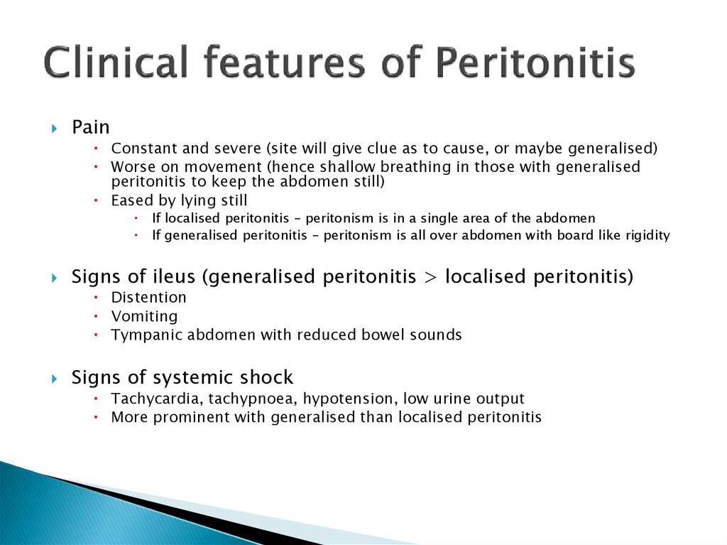 Clinical features of Peritonitis