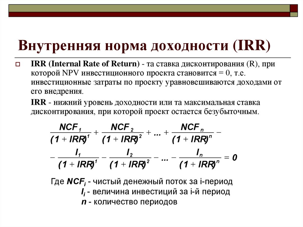 Внутренняя норма доходности проекта реферат 130