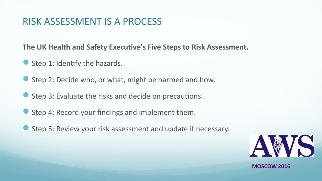 RISK ASSESSMENT IS A PROCESS