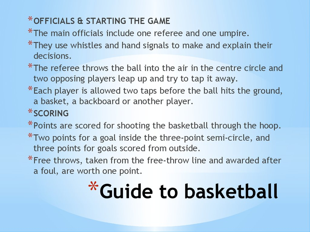 Guide to basketball