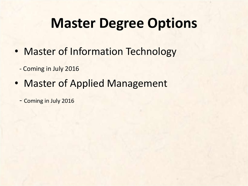 Master Degree Options