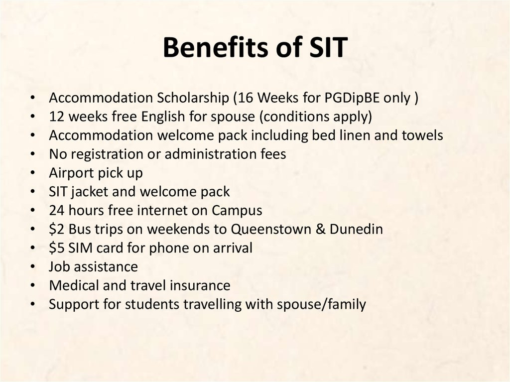 Benefits of SIT