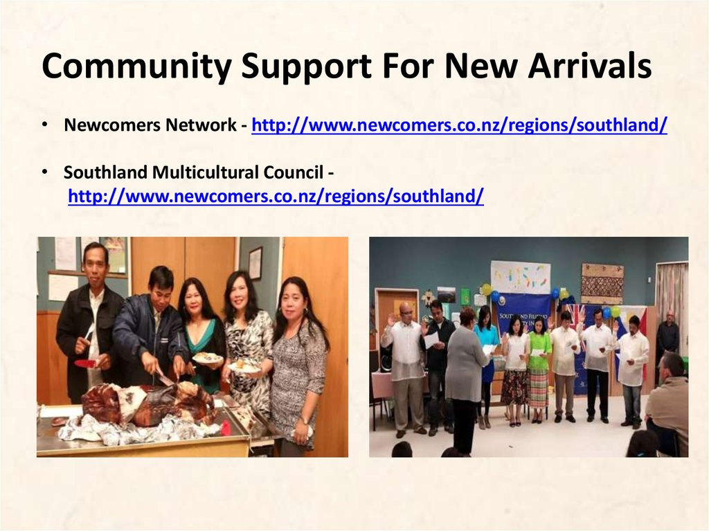 Community Support For New Arrivals