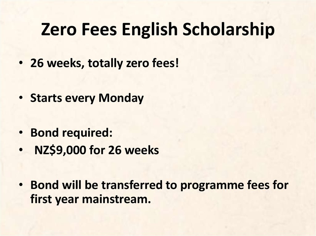Zero Fees English Scholarship