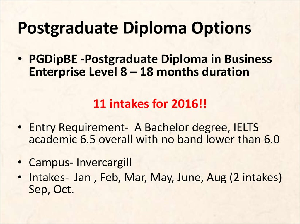 Postgraduate Diploma Options
