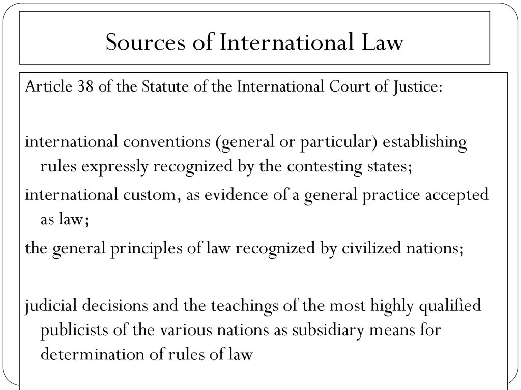 Sources of International Law