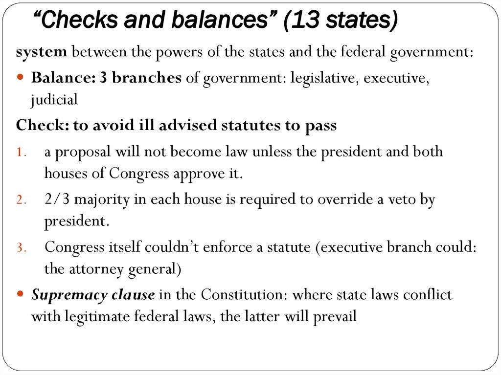 """Checks and balances"" (13 states)"
