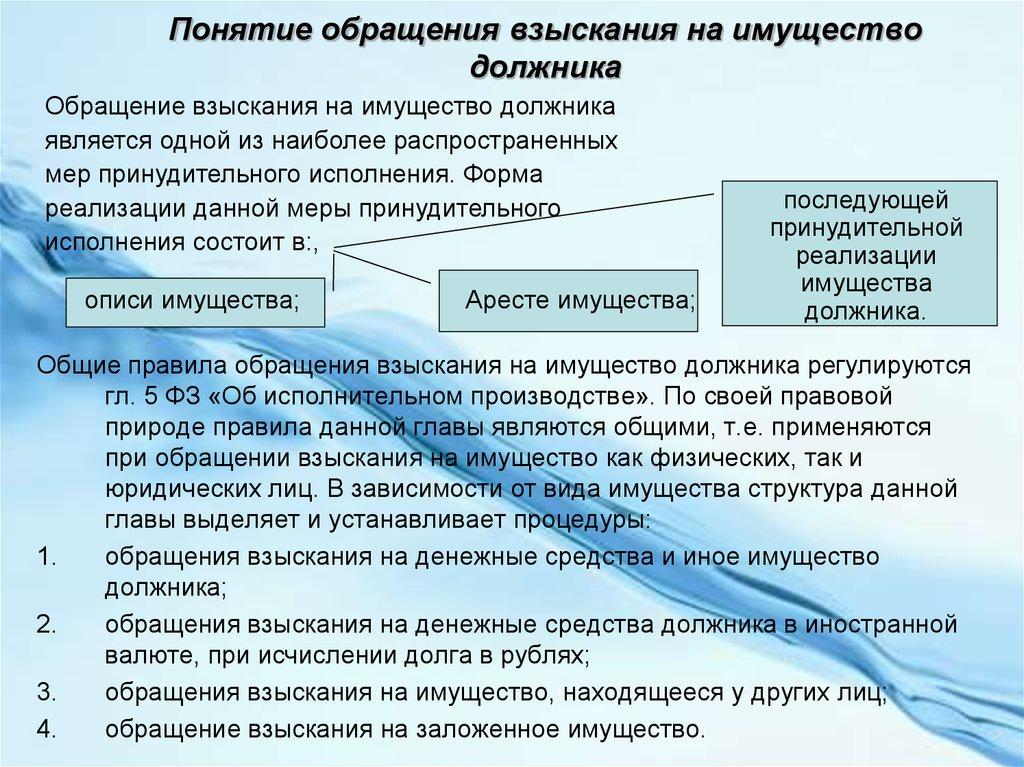 Общие правила обращения взыскания на имущество должника
