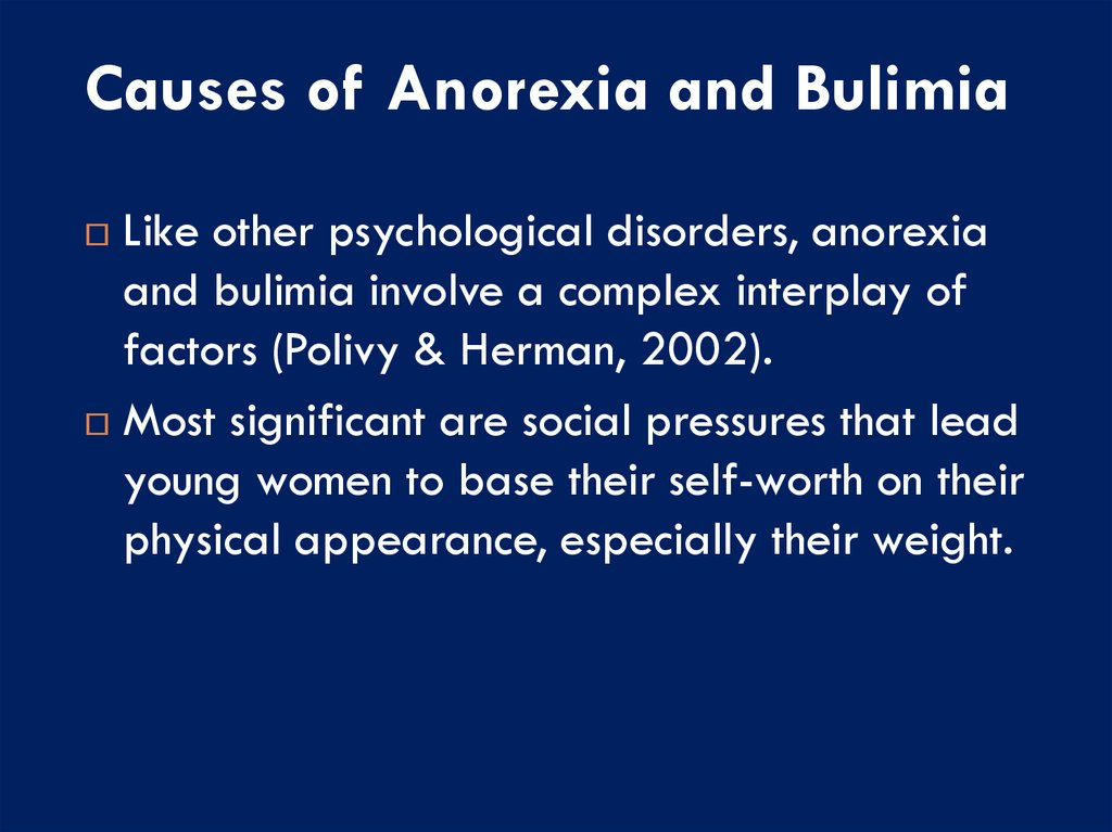 biochemical correlates of anorexia and bulimia essay What is the mechanism of hunger and eating for people with eating disorders there are mainly three kinds of eating disorders anorexia nervosa, and bulimia.