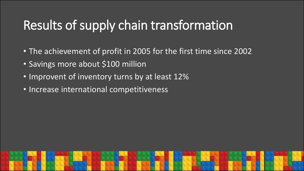 Results of supply chain transformation
