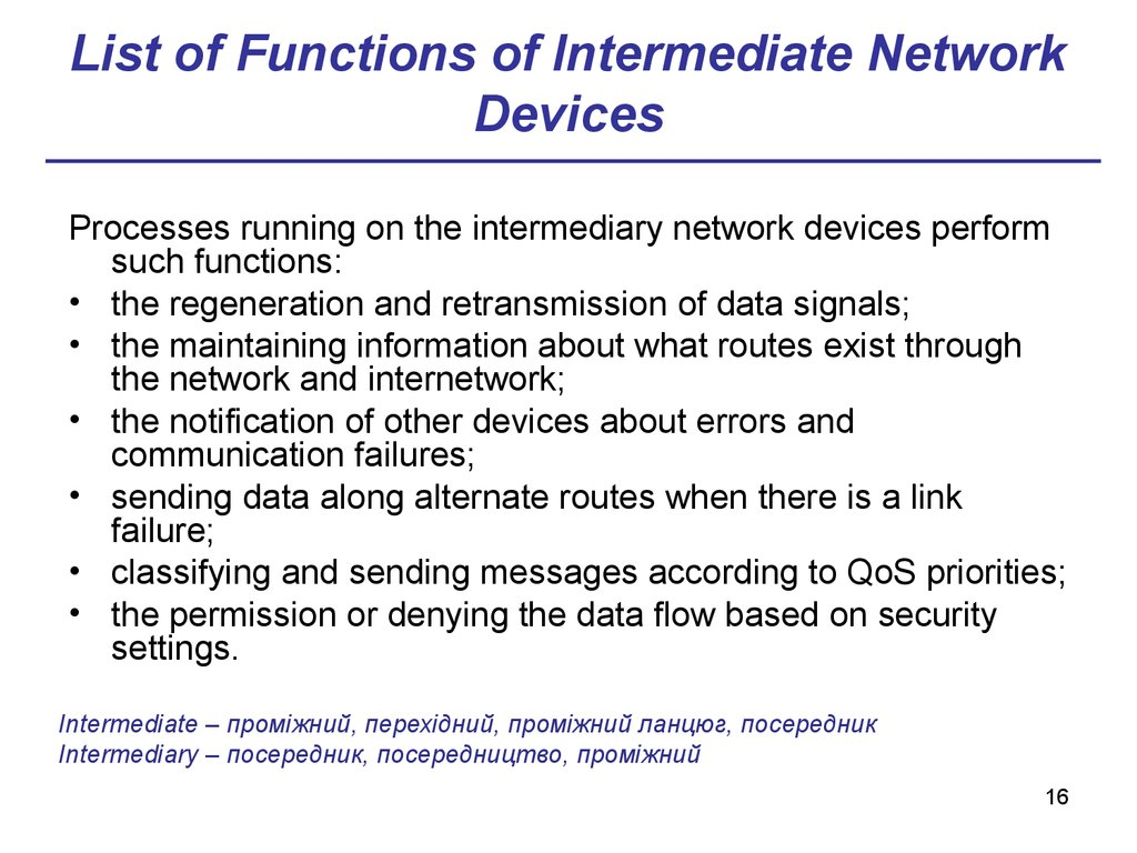 List of Functions of Intermediate Network Devices