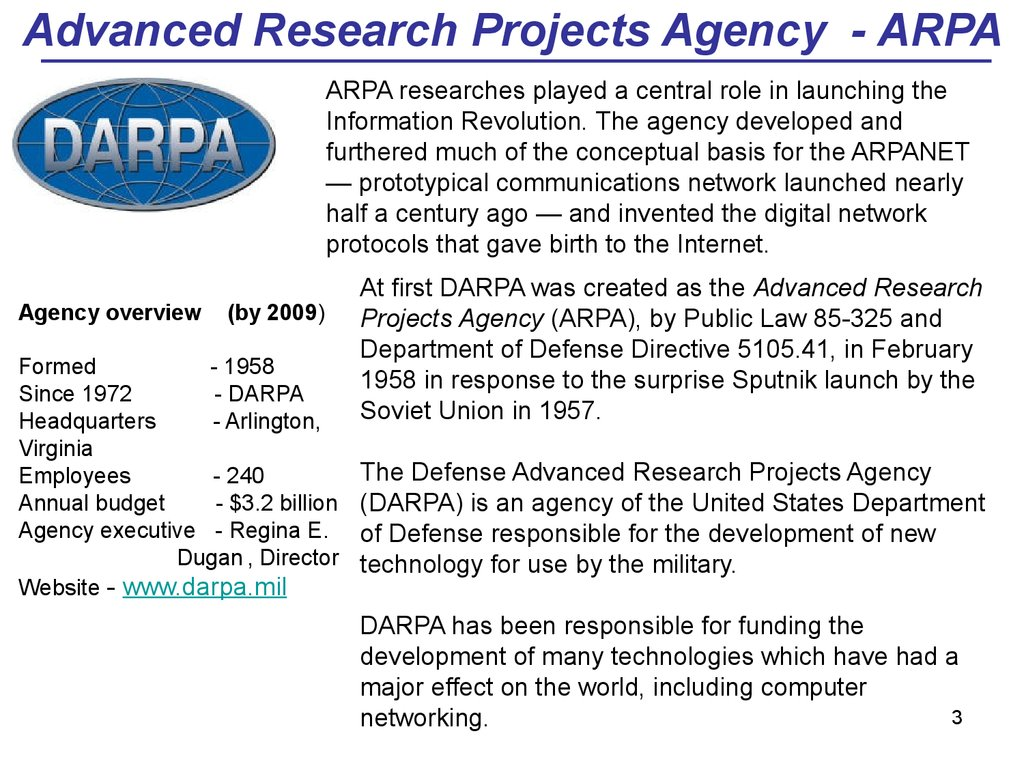 Advanced Research Projects Agency - ARPA