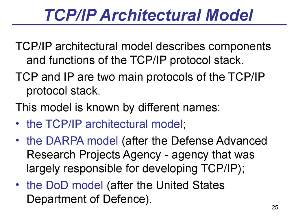 TCP/IP Architectural Model