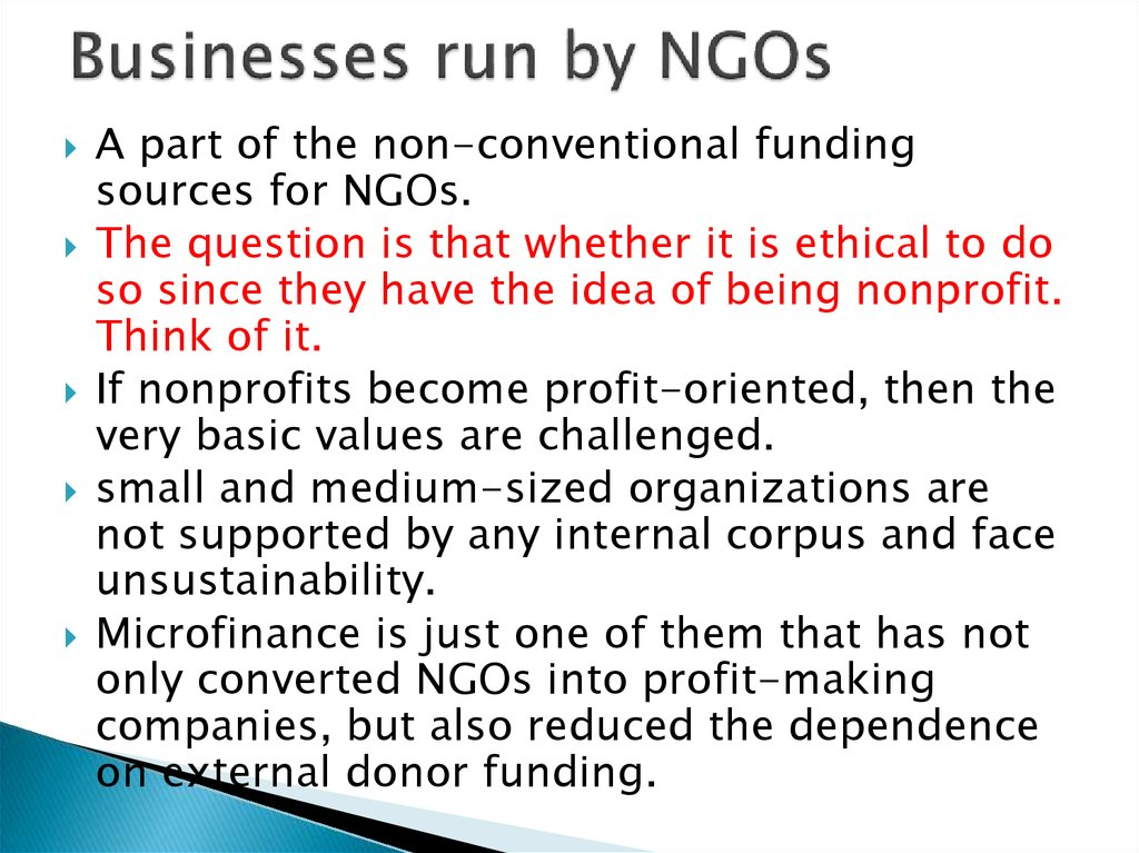 Businesses run by NGOs