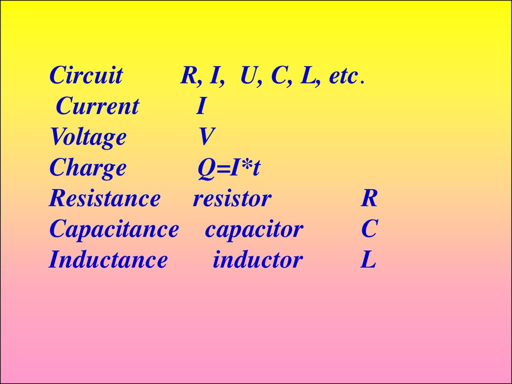 Industrial Electronics Fundamentals Of Electric Circuits Online Electrical Circuit Capacitor 2 R I U C L Etc Current Voltage V Charge Qit Resistance Resistor Capacitance Inductance Inductor