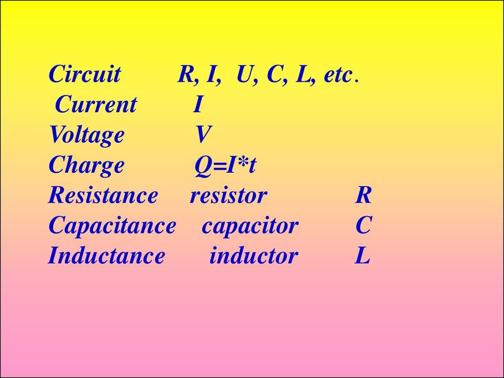 Industrial Electronics Fundamentals Of Electric Circuits Online Electriccircuit2jpg Circuit R I U C L Etc Current Voltage V Charge Qit Resistance Resistor Capacitance Capacitor Inductance Inductor