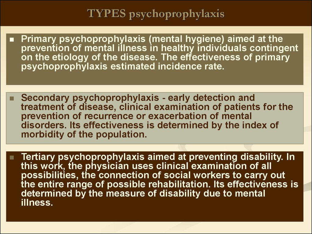 TYPES psychoprophylaxis
