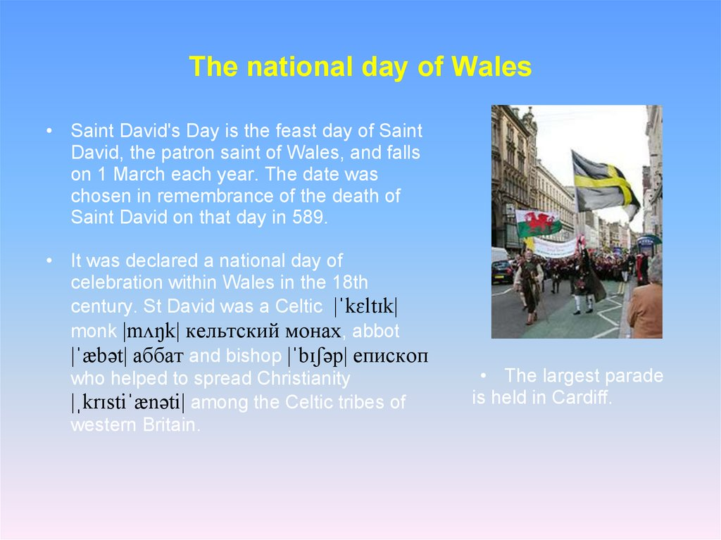 The national day of Wales