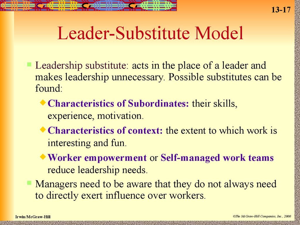 leadership substitute theory Personal characteristics of followers substitutes for leadership refer to from bus 137 at wake tech.