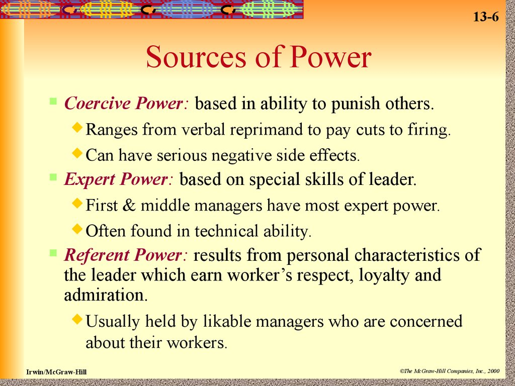 """power and leadership We define leadership as an attempt to influenceand power as influence potential in that regard """"leading"""" is the art/act of exercising/leveraging power historically the most significant research on organizational power was conducted by french & raven in the 1950's."""