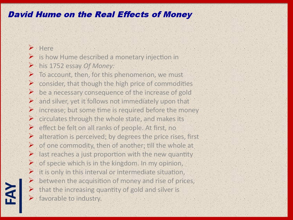 David Hume on the Real Effects of Money